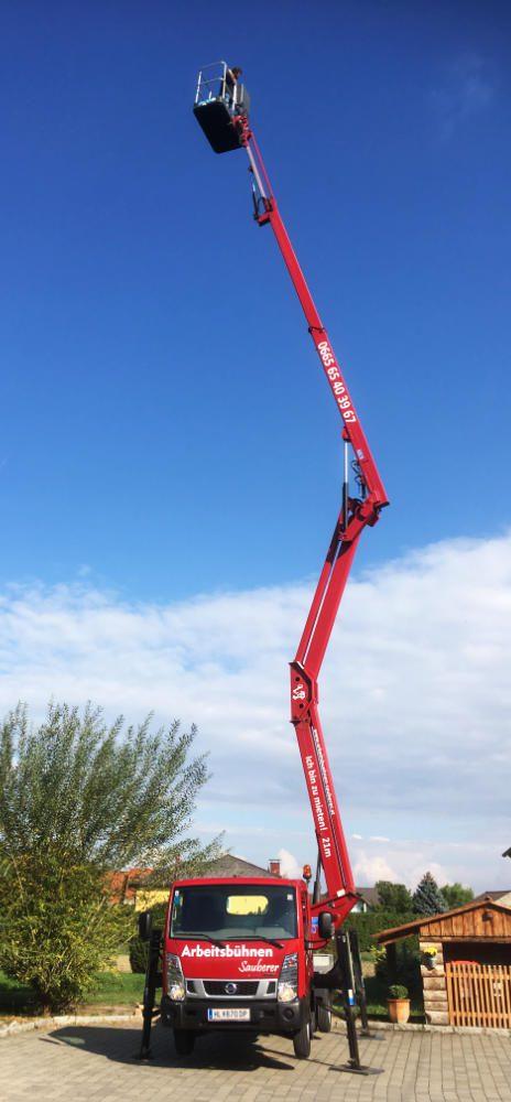 Gelenkarmbühne Höhe 21 Meter der Firma Arbeitsbühnenverleih Sauberer